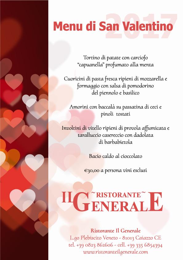 Menu di San Valentino 2017 Ristorante Il Generale -Caiazzo